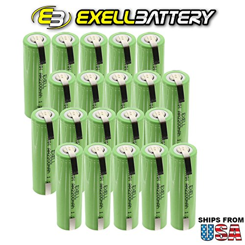 20x Exell 1.2V AA Size 2200mAh NiMH Rechargeable Batteries w/ Tabs for use with cameras, camcorders, mobile phones, pagers, medical instruments/equipment, high power static applications FAST USA SHIP