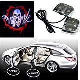 Spevert 2Pcs Can Be Sticked Directly Car LED Projector Door Lamp Ghost Shadow Welcome Logo Light for Skull - No Drilling Required