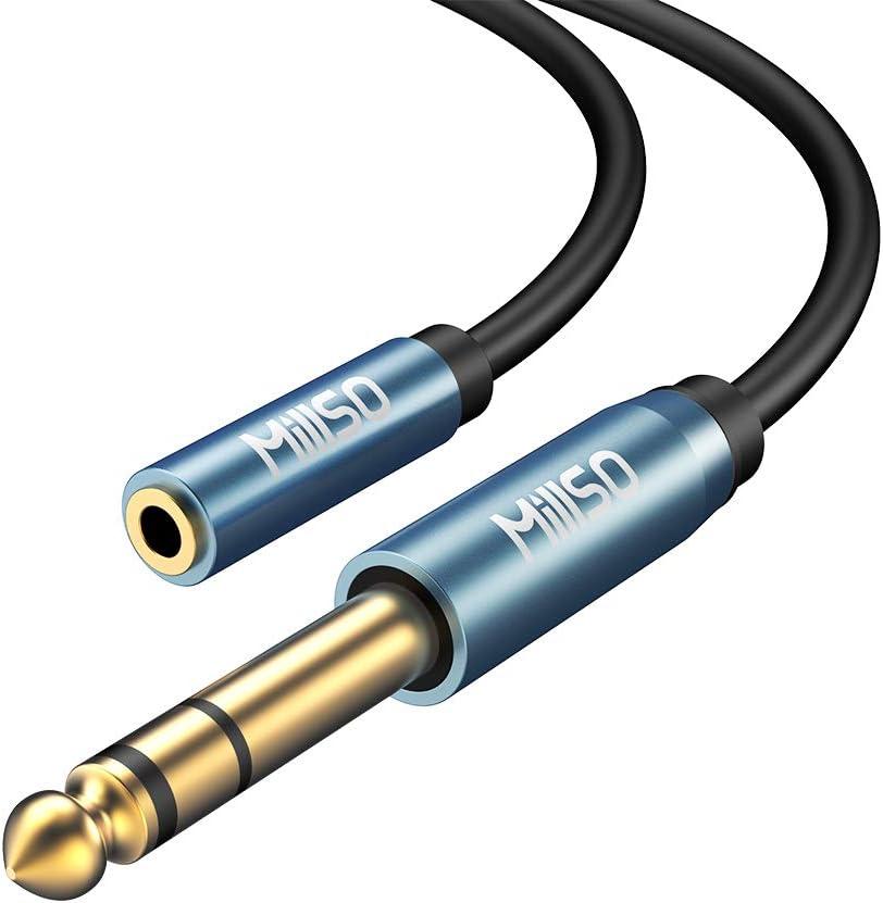 MillSO Convertidor de Audio Estéreo de Jack 3,5 mm Hembra a Jack 6,35 mm Macho, Adaptador Audio Jack 6.35 a 3.5 - 30CM