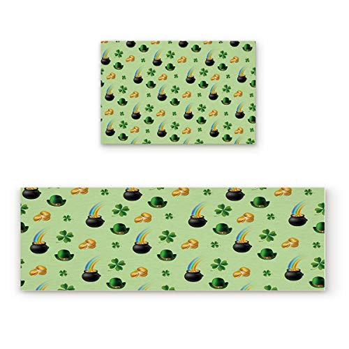 2 Piece Non-Slip Kitchen Mat Rubber Backing Doormat Runner Rug Set, Kids Area Rug Carpet Bedroom Rug Pot of Coins at End of the Rainbow with Clovers Irish Leprechaun Treasure, 19.7x31.5in +19.7x47.2in from Shine-Home