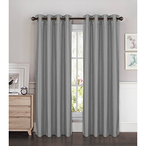 Window Elements Kim Faux Silk Extra Wide 108 x 84 in. Grommet Curtain Panel Pair, Silver (Window Covering Ideas)
