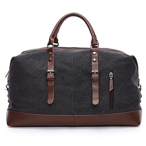 Carry on Bag Canvas Leather Weekender Overnight Holdall Tote Bag with Metal Buckle for Mens(Black) Fresion