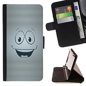 Momo Phone Case / Flip Funda de Cuero Case Cover - Cara feliz sonriente símbolo de dibujos animados - HTC One Mini 2 M8 MINI