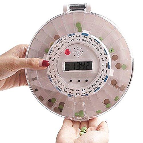 Organizador electrónico de medicamentos para 28 días, de EZs_Store, dispensador de pastillas automático con 6 alarmas y luz de alerta, certificado CE, ...