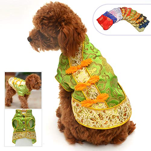 - Lovelonglong 2019 Dog Costumes Cheongsam Qipao Dresses for Small Dogs Pet Tang Dynasty Costume for Toy Poodle Yorkshire Terrier M Green
