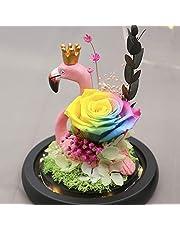 Flores Artificiales de Flamenco de Flamenco con luz LED de Cristal Brillante, Rosas Reales Hechas a Mano, Accesorios para el hogar, día de San Valentín, Navidad, cumpleaños, Boda