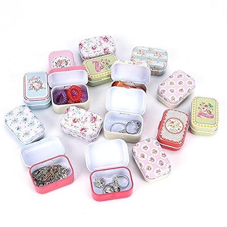 Takestop® Juego 2 Piezas Cajas Caja de lata 8 x 5 x 2 cm Mini tarro Organizador Caja The TE joyas BOMBONIERA Bomboniere Confetti Pills Color aleatorio: ...