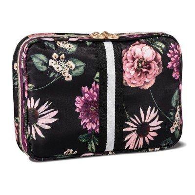 Sonia Kashuk153; Cosmetic Bag Always Organized Dark Floral with Webbing Black