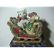 Fitz and Floyd Father Christmas Dog and Cat Salt and Pepper Shakers in Sled