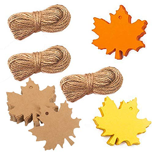 150 PCS Christmas Gift Tags, Maple Leaves Tags Kraft Paper Tags Birthday Wedding Party Favor Tags Blank Tags Christmas Wishing Tree Hang Tags Thank You Gift Tags with 3 Rolls Twine String