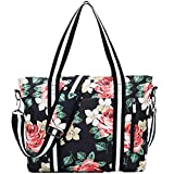 Laptop Tote Bag Fit UP to 17.3 Inch Laptop Shoulder Messenger Bag Computer Briefcase RFID Anti Theft Floral Tote Bag for Women with USB Charging Port
