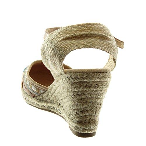 Intrecciato cm Cinturino Donna 5 Espadrillas Corda Rosa Caviglia Zeppa chiaro Alla Tacco Moda Sandali Angkorly 8 Scarpe Ricamo con vqSaa8