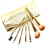 7PCS Mineral Eyeshadow Cosmetic Makeup Brush Set Tool with Pouch Bag -Golden