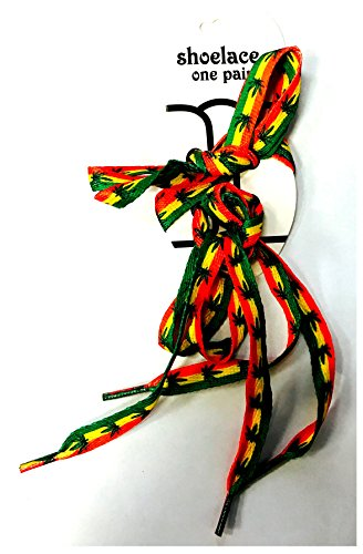 High Quality Fancy 0.9 cm Wide 100 cm Long Flat String Shoe lace Pair by Lizzy® (Rasta design)