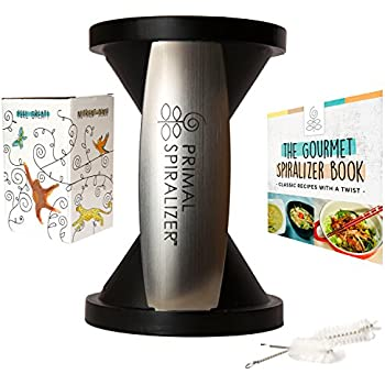 Healthy Eating Spiral Slicer Set by Primal Spiralizer - Includes 98-Recipe eBook & 2 Cleaning Brushes  The Better Option for Fresh Veggie Enjoyment