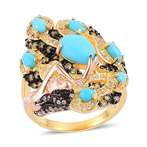 Sleeping Beauty Turquoise Multi Gemstone Black Rhodium and 14K YG Plated Sterling Silver Ring Size 7 14k Yg Multi Gemstone