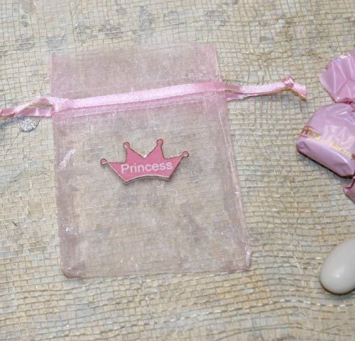 (Shiny Pink Organza Bag with Crown Princess Charm - Pack of 10 Princess Favor Bags)