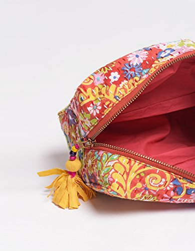 coral beauty case, kantha Pouch, make up o per cosmetici, borsello, 10,2 x 7,6 x 20,3 cm