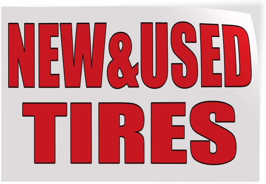 Set of 2 Decal Sticker Multiple Sizes New/& Used Tires Auto Body Shop Car Repair Style U Automotive New Tires Outdoor Store Sign White 54inx36in