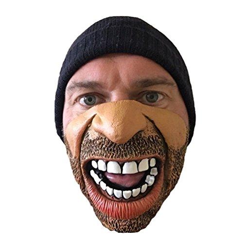 Funny Half Angry Face Mask , Thug , Gring o, Beard, Stubble , Batchelor (Thug Costumes)