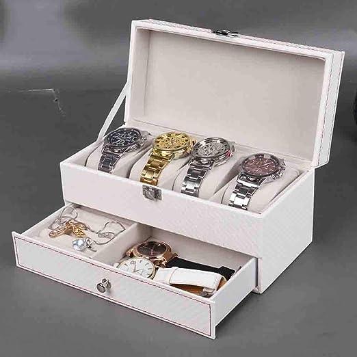 QXTT Caja Estuche De PU para Relojes Organizador Joyero De Joyas para Guardar Relojes con 6 Compartimentos para Pendientes Collares Pulseras Blanco: Amazon.es: Hogar
