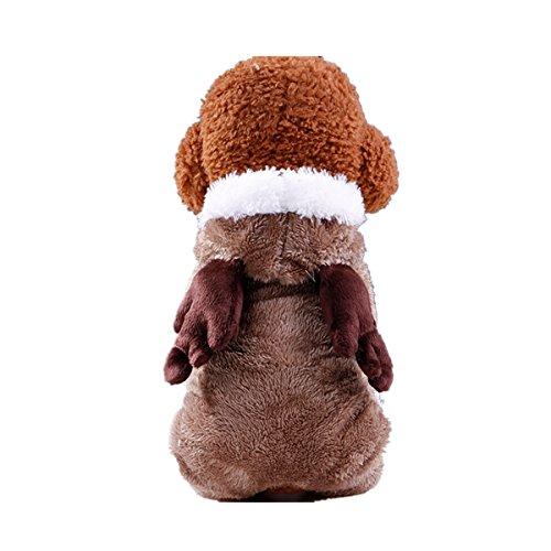 Aliciga メリークリスマス 雰囲気満点♪ 小中型ペット服 ベルベット製 子犬 コート 裏起毛 超可愛い エルク コスプレ フード付き 犬服 猫服 わんちゃん にゃんこ 着ぐるみ お散歩 ジョギング パーティー おもしろ 目立つ ペット用品 保温 防寒 暖かい カジュアル ファッション (XS  コーヒー)