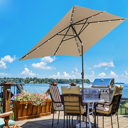 SUNNYARD 7 by 9 Feet Outdoor Solar Powered LED Lighted Patio Umbrella Aluminum Table Market Umbrella with Crank and Tilt, Taupe by SUNNYARD