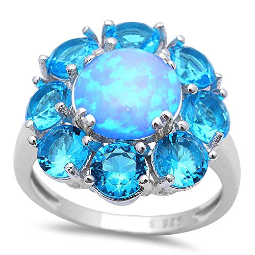 Oxford Diamond Co Lab Created Blue Fire Opal Blue Cubic Zirconia Flower .925 Sterling Silver Ring Sizes 5-11