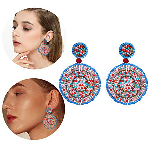 Sunmoon Beaded Drop Earrings for Women Girls Handmade Seed Bead Round Dangle Earrings Bohemia Statement Earring Studs ()