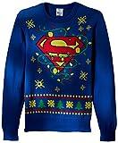 DC Comics Batman Men's Superman Logo Ugly Christmas Sweater with Led Lights, Blue, 2XL