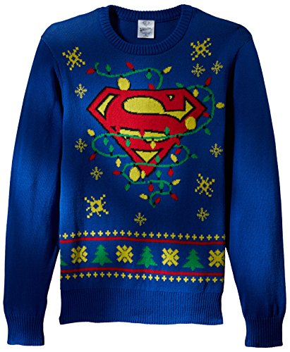 DC Comics Batman Men's Superman Logo Ugly Christmas Sweater with Led Lights, Blue, -