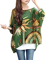 Allegra K Lady Round Neck Pullover Batwing Sleeve Semi Sheer Top
