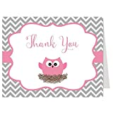 Owl, Baby Shower, Thank You Cards, Chevron, Stripes, Baby Girl, Pink, Gray, Grey, Tree, Hipster, Look Whoo, Guess, Hoot, 50 Pack Folding Notes with White Envelopo