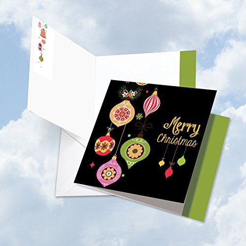 Groovy Christmas Tree - JQ4177DXSG Jumbo Christmas Square-Top Card: Retro Groovy Greetings Featuring Bright Images of Nostalgia Inspiring Ornaments Against a Black Background & Envelope (Large Size: 8.25