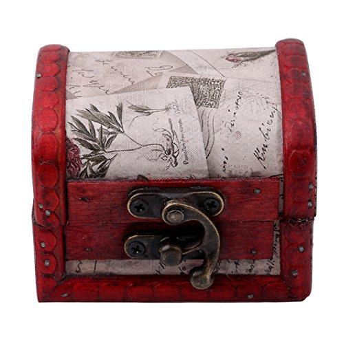 VWH Wooden Storage Box,Handcraft Wood Box Kit,Case Cabinet Container with Lock and Key Rustic Western for Keepsake,Photo,Trinket,Letter,Document Organizer (style2)