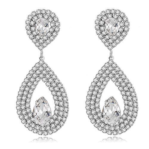 Long Way Bridal Wedding Jewelry Beautiful Dazzle Crystal Dangle Fashion 3D Earring Silver Plated (202)