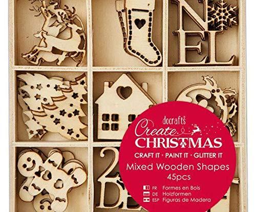 Navidad Bricolaje Mezcla De Peque/ñas Decoraciones de Madera Decoraci/ón 45pcs Docrafts de Madera Adornos Papel de Scrapbooking Arte de la Navidad Decoraciones