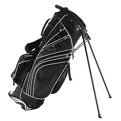 (Tangkula Golf Stand Bag w/6 Way Divider Carry Organizer Pockets Storage Golf Travel Bag(Black))