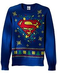 DC Comics Batman - Sudadera de Navidad con Luces LED para Hombre, diseño con Logo de Superman