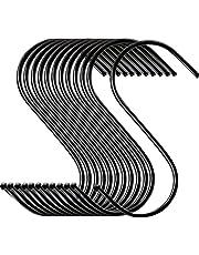 Elokipoe S Hooks, 20 Pack Sturdy Black Coated Steel S Shaped Hook, Heavy Duty S Rack Hooks & Metal Hanger, Finish S Hooks Sturdy Eough for Coffee Cup Kitchen Pot Pan Closet Bar Towel Closet Garden Garage