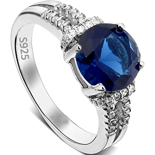 EVER-FAITH-925-Sterling-Silver-79ct-CZ-September-Birthstone-Cocktail-Ring-Blue-Sapphire-Color