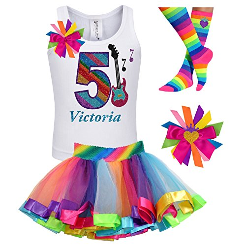 Girls Rock Star Guitar Shirt 5th Birthday Rainbow Tutu Rock N Roll Party Outfit 4PC Gift Set Personalized Name Age