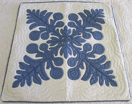 (Hawaiian quilt throw pillow cushion cover 24x24 100% hand quilted/100% hand appliqued wall decor)