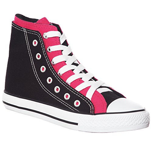 Canvas High Top - Women's High Top Canvas Sneakers (10, Blackfushia)[Apparel]