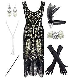 Beige & Black 1920s Fringe Beaded Dress with Costume Set
