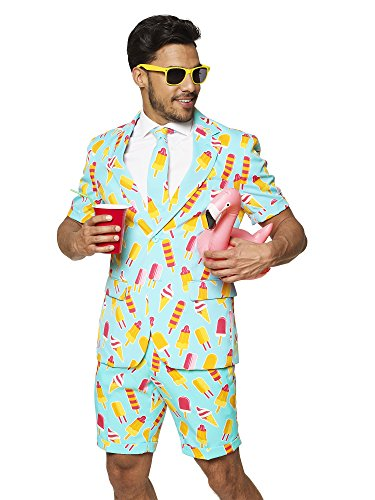 - OppoSuits Men's Summer Suit: Shorts, Short-Sleeved Jacket & Tie + Free Sunglasses & Cup Holder