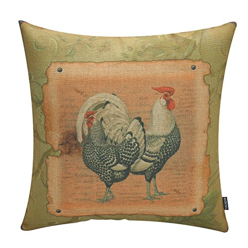 TRENDIN Retro Style Chicken Rooster Farm House Home Decor Throw Cushion Cover Burlap Pillow Case 18 x 18 Inches(PL024TR) ()