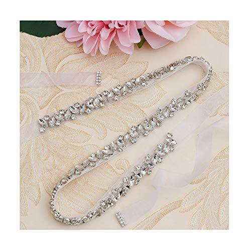 (Yanstar Handmade Bridal Belt Silver Crystal Rhinestone Wedding Belt Sash With White Organza For Bridal Wedding Party Gowns Dress)