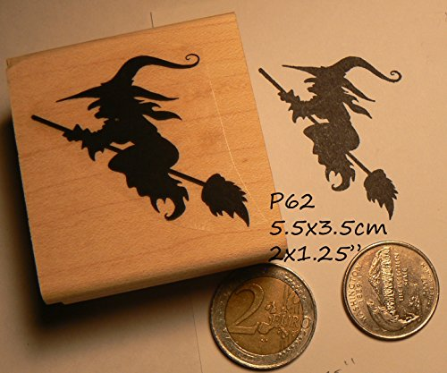 (Halloween witch on broom rubber stamp)