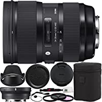 Sigma 588954 24-35mm f/2 DG HSM Art Lens for Canon EF & MC-11 Mount Converter/Lens Adapter (Canon EF-Mount to Sony E) 10PC Bundle Includes Manufacturer Accessories + 3PC Filter Kit (UV-CPL-FLD) + MORE